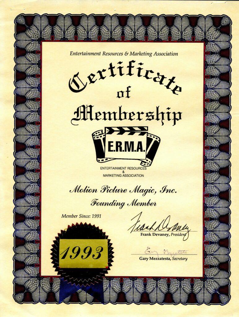 ERMA Founding Member Certificate